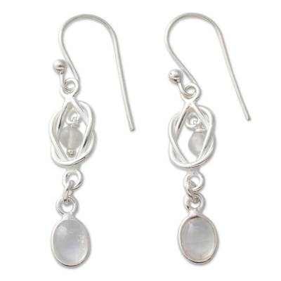 Artisan Crafted Rainbow Moonstone and Silver Earrings