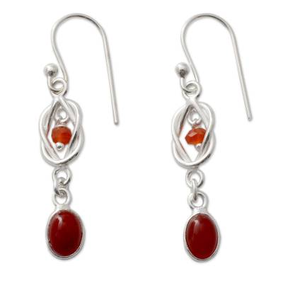 Artisan Crafted Sterling Silver and Red Onyx Dangle Earrings