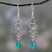 Onyx dangle earrings, 'Forest Trellis' - Polished Silver Dangle Earrings with Green Onyx Beads