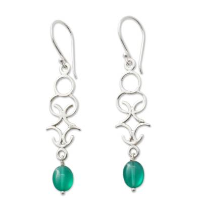 Polished Silver Dangle Earrings with Green Onyx Beads