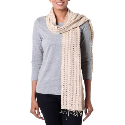 Viscose scarf, 'Beige Honeycomb' - Women's Beige Viscose Scarf with Open Work