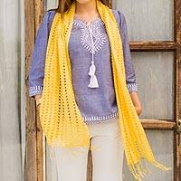 Viscose scarf, 'Yellow Honeycomb' - Unique Yellow Viscose Scarf with Openwork Design