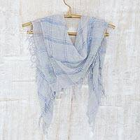 Cotton blend scarf, 'Amethyst Fantasy' - Cotton Gauze Hand Woven Scarf from India