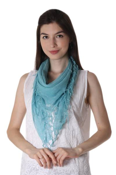 Cotton blend scarf, 'Sky Fantasy' - Light Blue Cotton Gauze Hand Woven Scarf from India