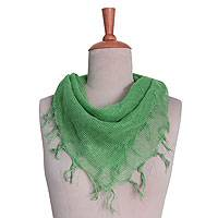 31f2714bb7888 Cotton blend scarf, 'Jade Fantasy' - Hand Woven Green Cotton Gauze Scarf  from