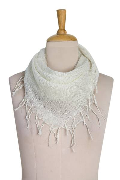 Cotton blend scarf, 'Pearl Fantasy' - Hand Woven Cotton Off White Scarf with Silver Accents