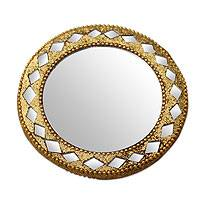Embellished pocket mirror, 'Golden Charm' - Golden Pocket Mirror for Handbag Artisan Crafted in India