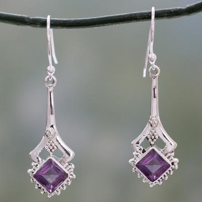 Amethyst dangle earrings, 'Modern Jaipur' - Indian Artisan Amethyst Dangle Earrings in Sterling Silver