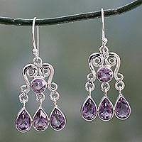 Amethyst chandelier earrings, 'Violet Symmetry' - Amethyst Chandelier Earrings in Sterling Silver