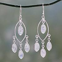 Rainbow moonstone chandelier earrings, 'Luminous Dew' - Rainbow Moonstone and Sterling Silver Chandelier Earrings