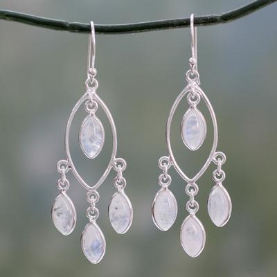 Rainbow moonstone chandelier earrings, 'Luminous Dew' - Rainbow Moonstone and Sterling Silver Chandelier Earrings