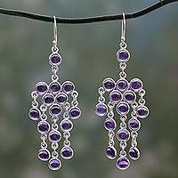 Amethyst chandelier earrings, 'Ecstatic Purple' - Sterling Silver Chandelier Earrings with Amethyst Cabochons