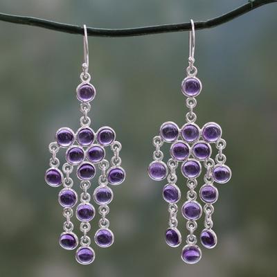 Amethyst chandelier earrings, 'Ecstatic Purple' - Sterling Silver Chandelier Earrings with Amethyst Cabochons
