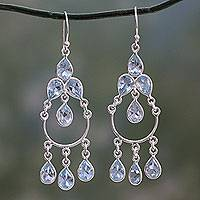 Blue topaz chandelier earrings, 'Azure Elegance'