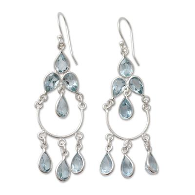Blue topaz chandelier earrings, 'Azure Elegance' - Blue Topaz Handcrafted Sterling Silver Chandelier Earrings