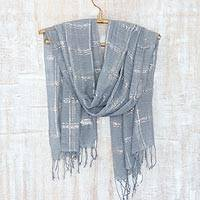 Cotton blend shawl, 'Infinite Grey' - Grey and Silver Hand Woven Shawl Wrap from India