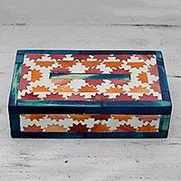 Wood inlay box, 'Starbursts' - India Handcrafted Wood Inlay Decorative Box