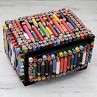 Recycled pencil decorative box, 'Color Me Eco-Conscious' - Eco Friendly Box Artisan Crafted with Recycled Pencils