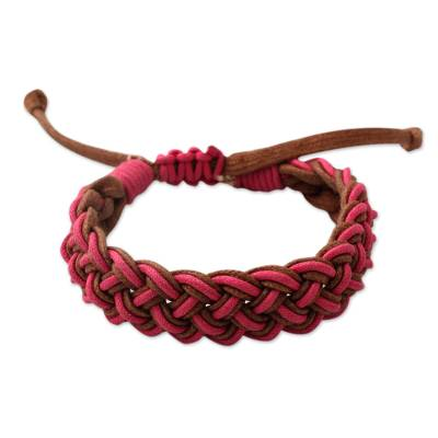 Braided cord bracelet, 'Delhi Braid' - Pink and Brown Waxed Cotton Cord Braided Bracelet