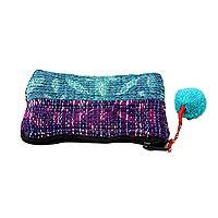 Recycled sari coin purse, 'Turquoise Festivity' - Eco Friendly Recycled Sari Coin Purse from India