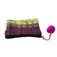 Recycled sari coin purse, 'Orchid Festivity' - Colorful Coin Purse Crafted from Recycled Saris