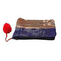 Recycled sari coin purse, 'Red Festivity' - Handcrafted Change Purse Made from Recycled Saris