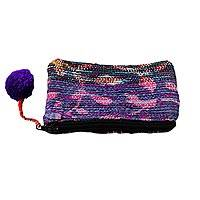 Recycled sari coin purse, 'Purple Festivity' - Multicolored Recycled Sari Coin Purse from India