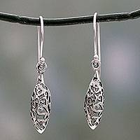 Sterling silver dangle earrings, 'Jali Dewdrop' - India Jali Handcrafted Sterling Silver Dangle Earrings