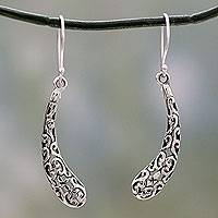 Sterling silver dangle earrings, 'Jali Leaf' - Handcrafted India Jali Art Sterling Silver Dangle Earrings