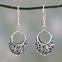 Sterling silver dangle earrings, 'Floral Basket' - Floral Theme Handcrafted Sterling Silver Earrings from India