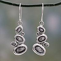 Sterling silver dangle earrings, 'Pebbles on the Beach' - India Fair Trade Abstract Sterling Silver Earrings