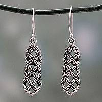 Sterling silver dangle earrings, 'Daisy Droplets' - Floral Theme Fair Trade Earrings in Sterling Silver