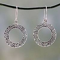 Sterling silver dangle earrings, 'Lacy Loops'