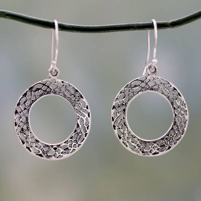 Sterling silver dangle earrings, 'Lacy Loops' - Lacy Sterling Handcrafted Circle Earrings