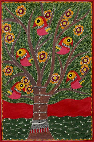 Madhubani painting, 'Tree of Life II' - Signed India Madhubani Folk Art Painting in Green and Red