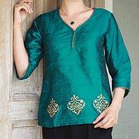 Beaded silk tunic, 'Emerald Empress'