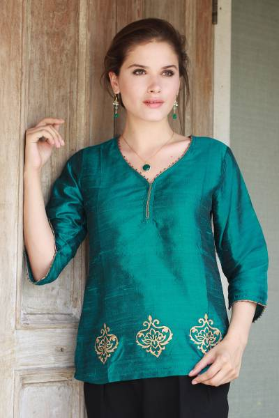 Beaded silk tunic, 'Emerald Empress' - Beaded Silk Block Print Tunic in Green and Blue