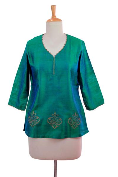 94e523592f613e Beaded Silk Block Print Tunic in Green and Blue, 'Emerald Empress'. Product  ID: U167437