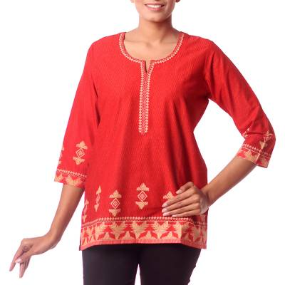 Cotton tunic, 'Geometric Brilliance' - Red Cotton Tunic for Women with Printed Accents