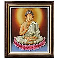 Marble dust relief panel, 'Buddha's Peaceful Allure' - India Framed Marble Dust Relief Panel Buddha Portrait