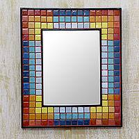 Ceramic mosaic wall mirror, 'Colors in Harmony' - Handcrafted Ceramic Mosaic Wall Mirror in Rainbow Colors