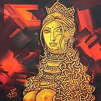 Giclee print on canvas, 'Lady I' by Chelian - Fine Art Giclee Print on Canvas of Woman from India