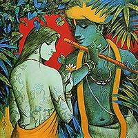 Giclée print on canvas, 'Radha Krishna' by Subrata Das - Limited Edition India Collectible Hindu Fine Art Print