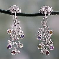 Multi-gemstone dangle earrings, 'Rainbow Wisteria' - Silver Earrings Handcrafted with 6 Kinds of Gems