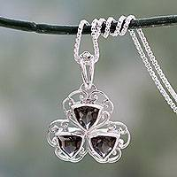 Smoky quartz pendant necklace, 'Delhi at Dusk' - Free Trade Smoky Quartz and Sterling Silver Pendant Necklace