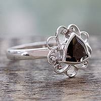 Smoky quartz cocktail ring, 'Delhi at Dusk' - Smoky Quartz and Sterling Silver Handcrafted Ring