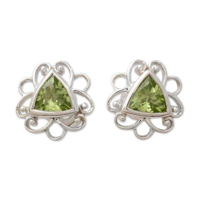 Peridot and Sterling Silver Handcrafted Button Earrings