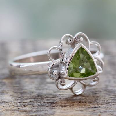 Novica Peridot and iolite cocktail ring, You and Me - Iolite and Peridot Ring India Silver Jewelry