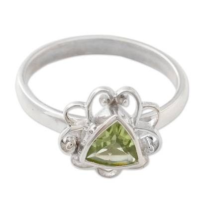 Peridot and Sterling Silver Handcrafted Ring