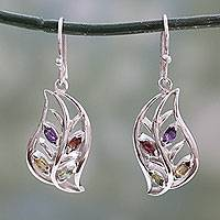 Multi-gemstone dangle earrings, 'Bright Foliage' - Silver Earrings Handcrafted with Four Different Gemstones